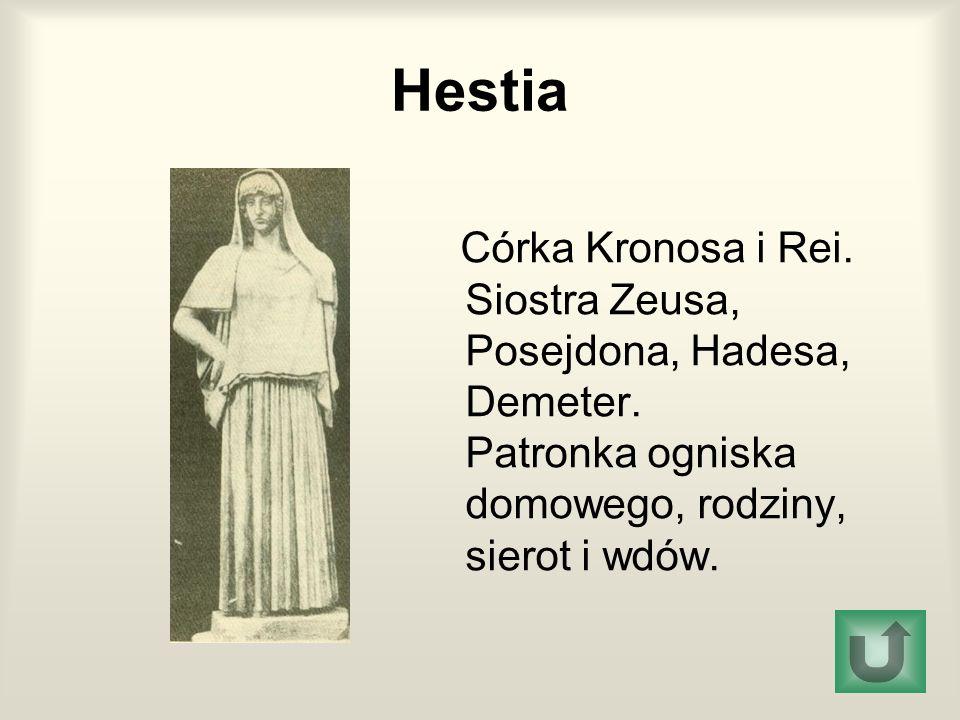 Hestia Córka Kronosa i Rei. Siostra Zeusa, Posejdona, Hadesa, Demeter. Patronka ogniska domowego, rodziny, sierot i wdów.