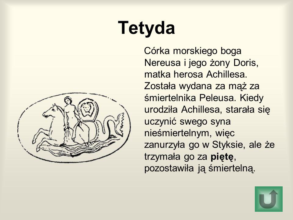 Tetyda Córka morskiego boga Nereusa i jego żony Doris, matka herosa Achillesa. Została wydana za mąż za śmiertelnika Peleusa. Kiedy urodziła Achillesa