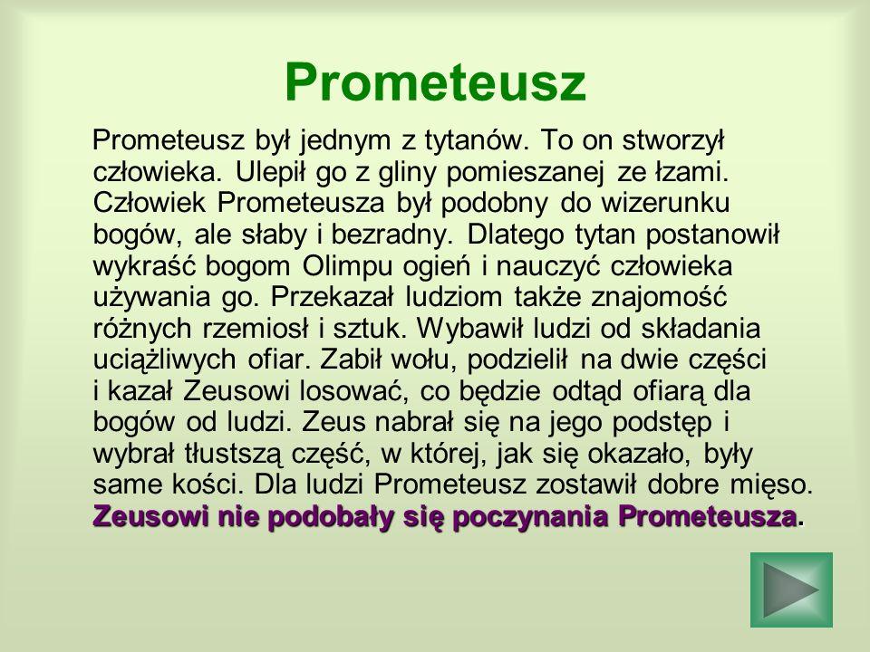 Prometeusz Zeusowi nie podobały się poczynania Prometeusza. Prometeusz był jednym z tytanów. To on stworzył człowieka. Ulepił go z gliny pomieszanej z