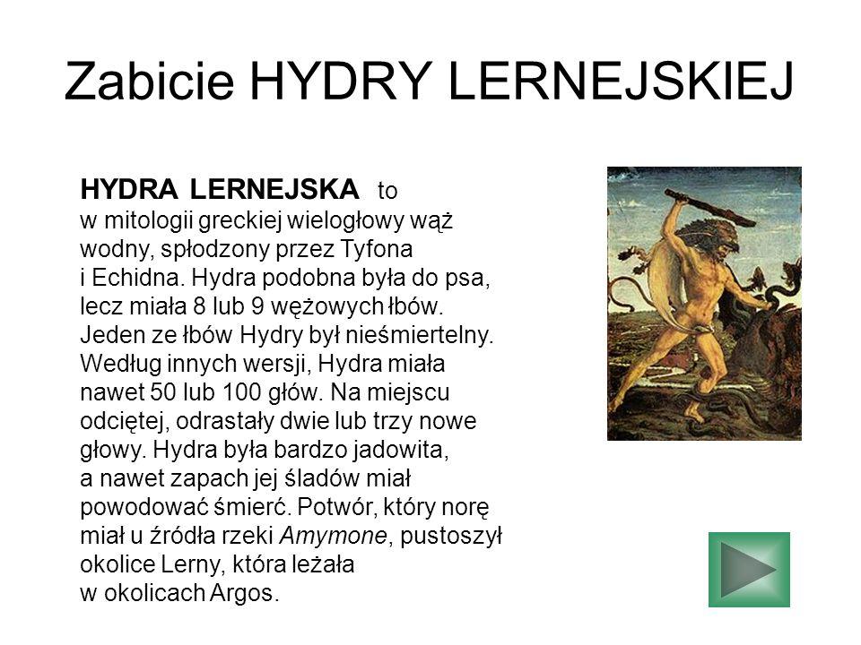 Zabicie HYDRY LERNEJSKIEJ HYDRA LERNEJSKA to w mitologii greckiej wielogłowy wąż wodny, spłodzony przez Tyfona i Echidna. Hydra podobna była do psa, l