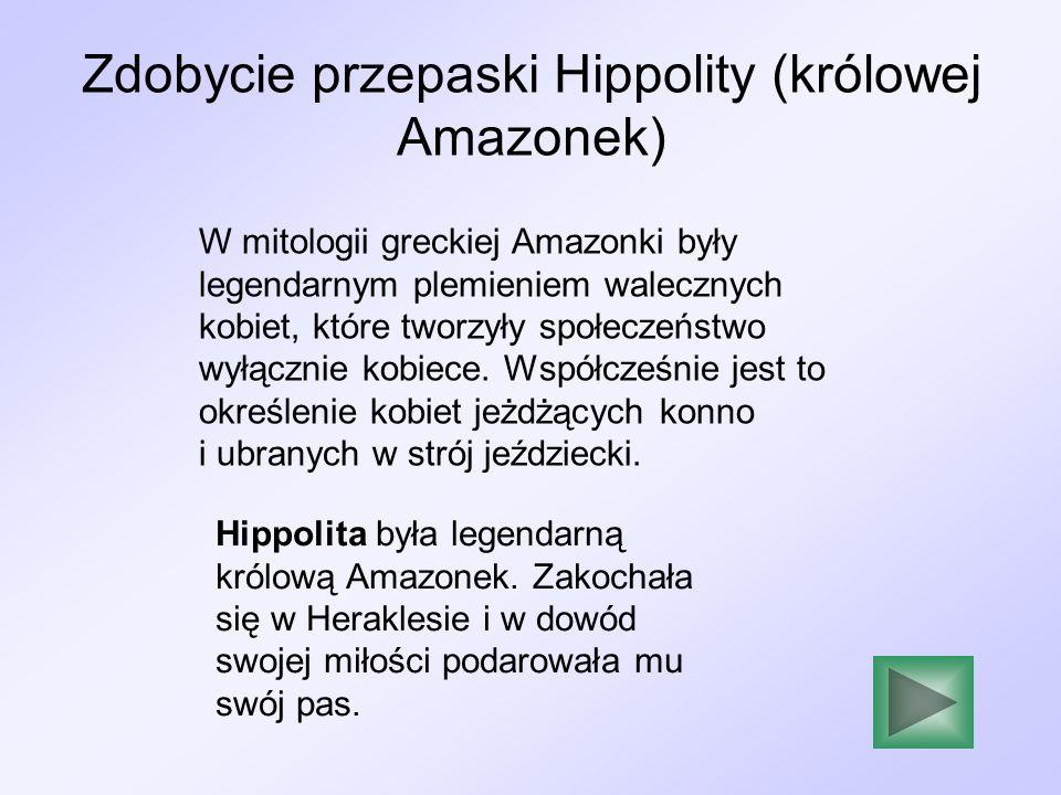 Zdobycie przepaski Hippolity (królowej Amazonek) W mitologii greckiej Amazonki były legendarnym plemieniem walecznych kobiet, które tworzyły społeczeń