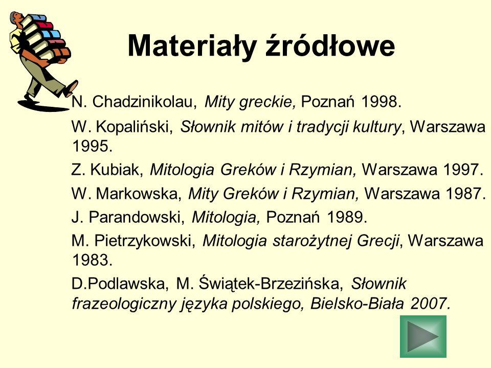Materiały źródłowe N. Chadzinikolau, Mity greckie, Poznań 1998. W. Kopaliński, Słownik mitów i tradycji kultury, Warszawa 1995. Z. Kubiak, Mitologia G