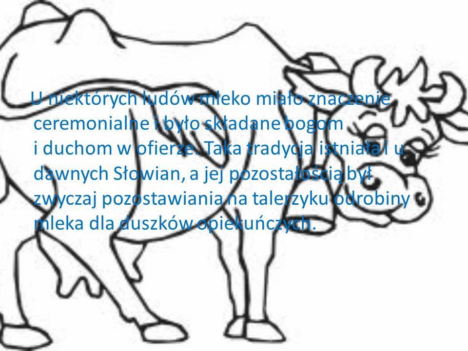 U niektórych ludów mleko miało znaczenie ceremonialne i było składane bogom i duchom w ofierze.