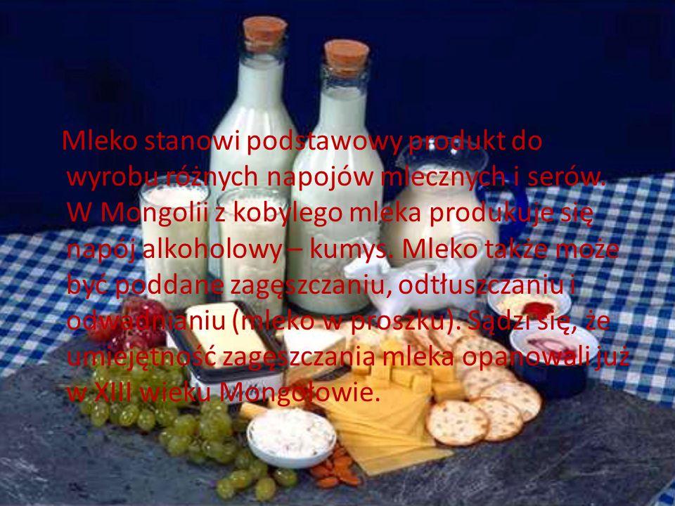 Mleko stanowi podstawowy produkt do wyrobu różnych napojów mlecznych i serów.