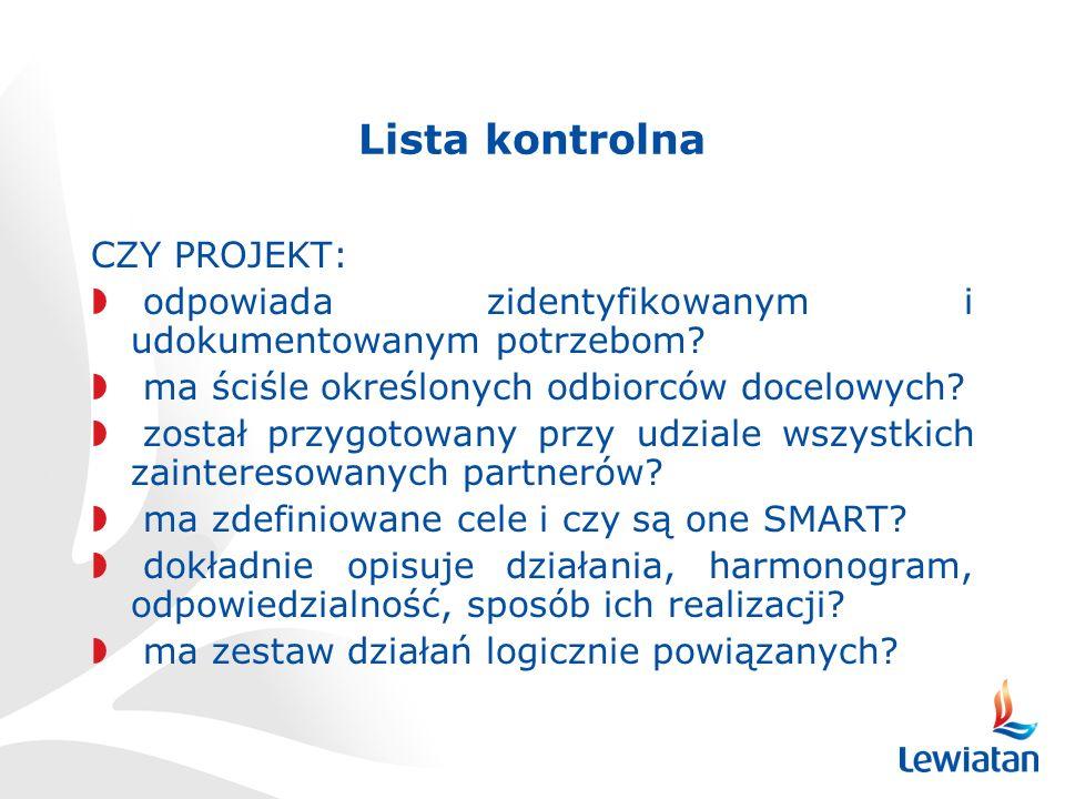Lista kontrolna CZY PROJEKT: odpowiada zidentyfikowanym i udokumentowanym potrzebom.
