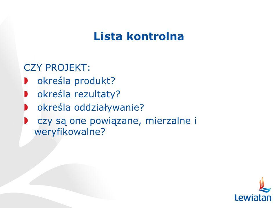 Lista kontrolna CZY PROJEKT: określa produkt.określa rezultaty.