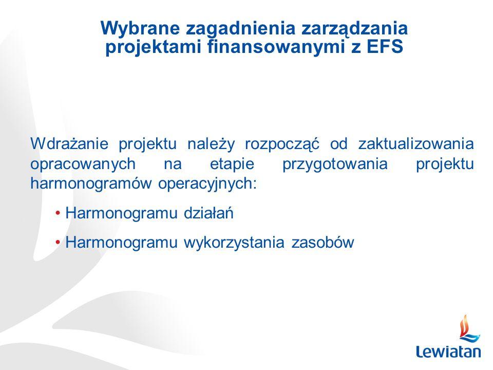 Wybrane zagadnienia zarządzania projektami finansowanymi z EFS Wdrażanie projektu należy rozpocząć od zaktualizowania opracowanych na etapie przygotowania projektu harmonogramów operacyjnych: Harmonogramu działań Harmonogramu wykorzystania zasobów