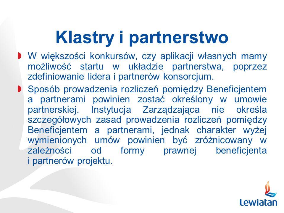 Klastry i partnerstwo W większości konkursów, czy aplikacji własnych mamy możliwość startu w układzie partnerstwa, poprzez zdefiniowanie lidera i partnerów konsorcjum.