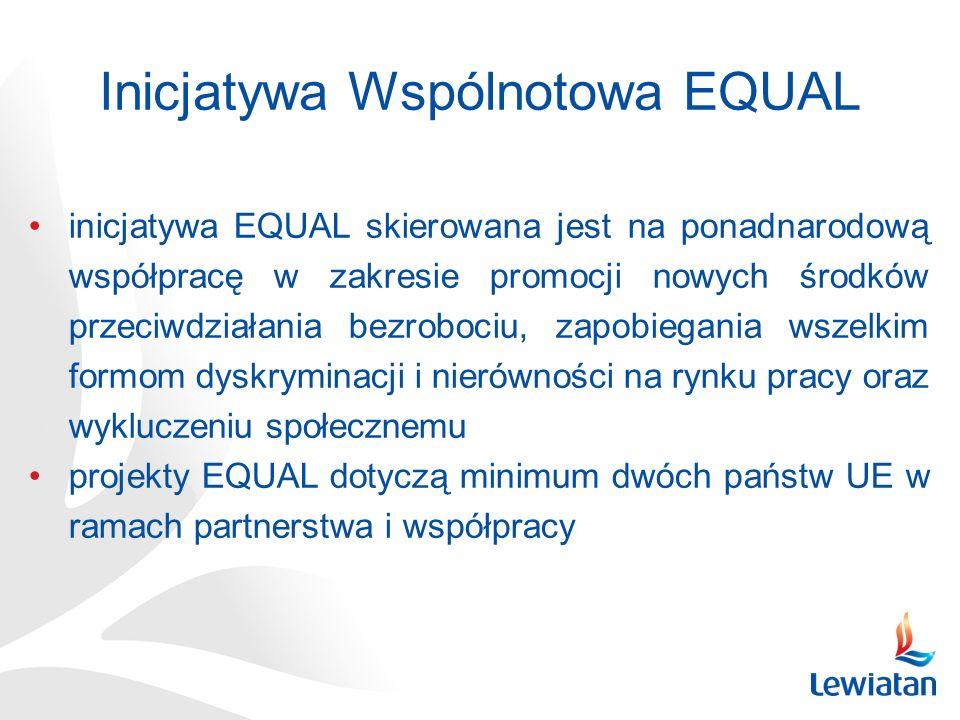 inicjatywa EQUAL skierowana jest na ponadnarodową współpracę w zakresie promocji nowych środków przeciwdziałania bezrobociu, zapobiegania wszelkim formom dyskryminacji i nierówności na rynku pracy oraz wykluczeniu społecznemu projekty EQUAL dotyczą minimum dwóch państw UE w ramach partnerstwa i współpracy Inicjatywa Wspólnotowa EQUAL
