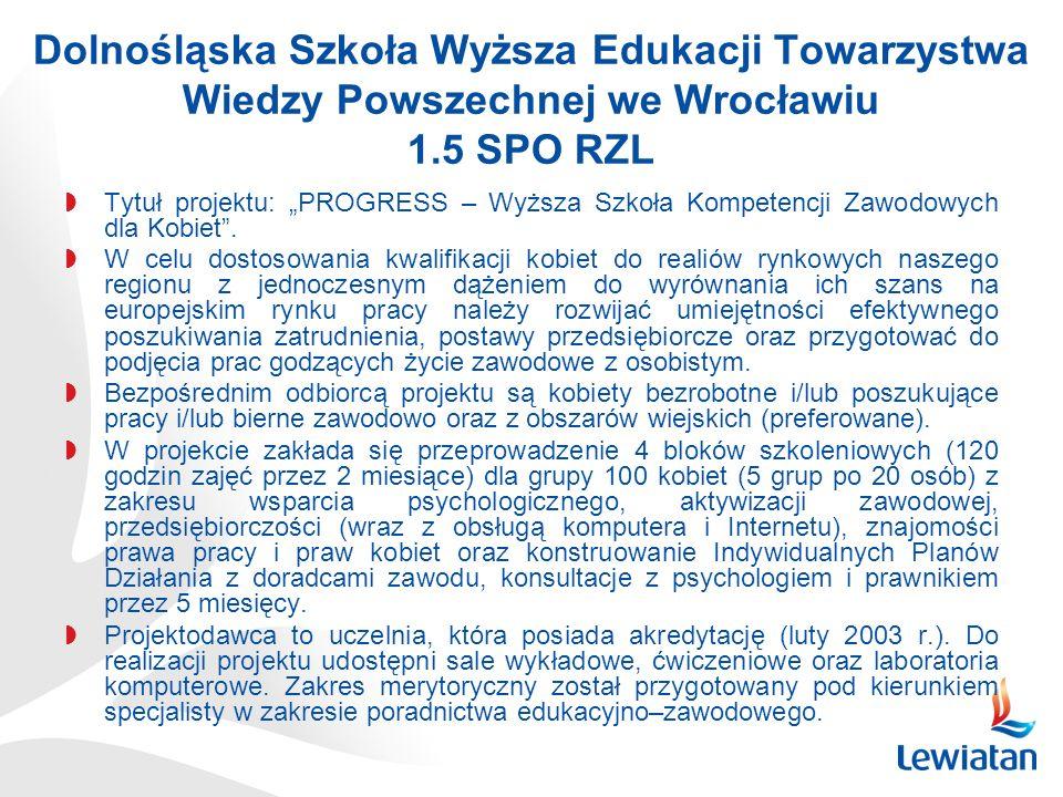 Dolnośląska Szkoła Wyższa Edukacji Towarzystwa Wiedzy Powszechnej we Wrocławiu 1.5 SPO RZL Tytuł projektu: PROGRESS – Wyższa Szkoła Kompetencji Zawodowych dla Kobiet.