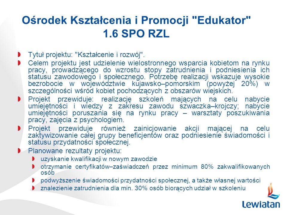 Ośrodek Kształcenia i Promocji Edukator 1.6 SPO RZL Tytuł projektu: Kształcenie i rozwój .