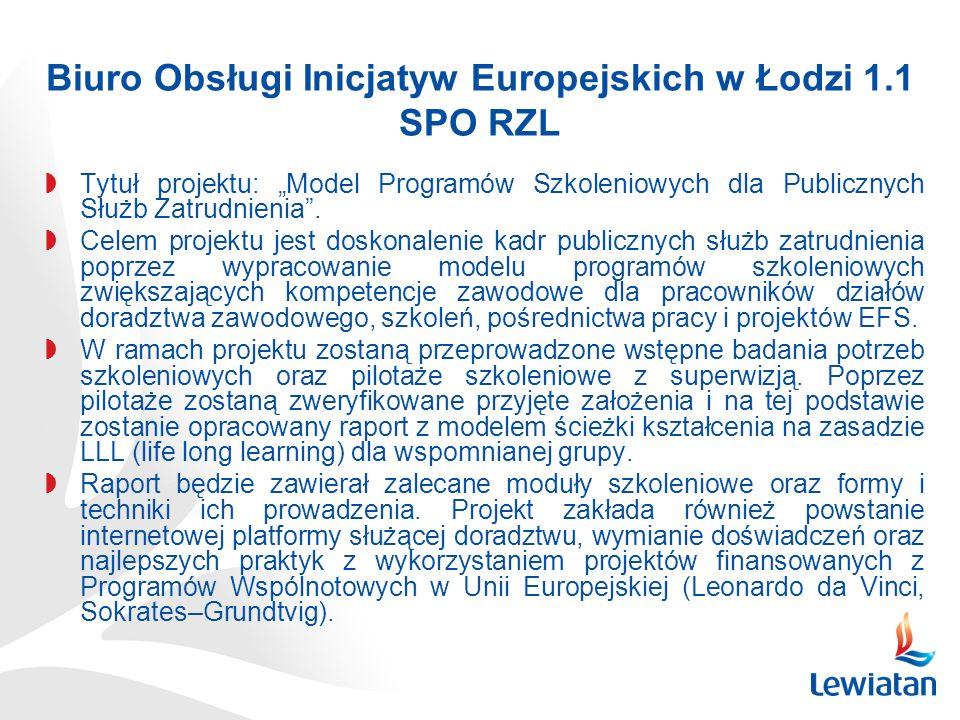 Biuro Obsługi Inicjatyw Europejskich w Łodzi 1.1 SPO RZL Tytuł projektu: Model Programów Szkoleniowych dla Publicznych Służb Zatrudnienia.