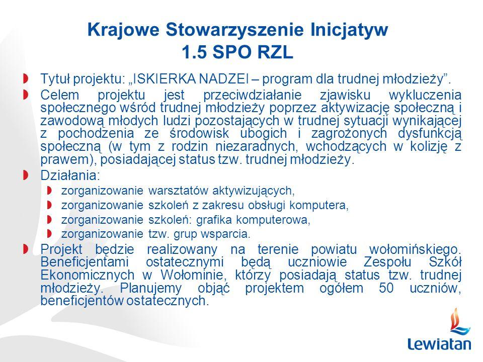 Krajowe Stowarzyszenie Inicjatyw 1.5 SPO RZL Tytuł projektu: ISKIERKA NADZEI – program dla trudnej młodzieży.