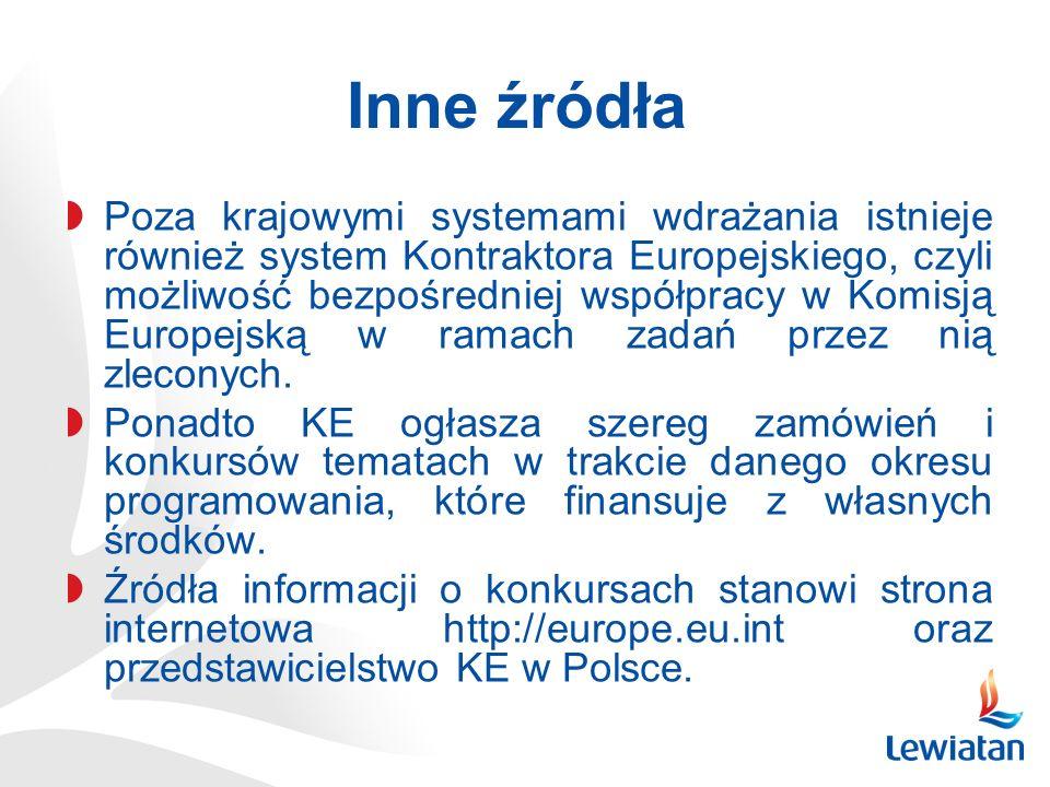 Inne źródła Poza krajowymi systemami wdrażania istnieje również system Kontraktora Europejskiego, czyli możliwość bezpośredniej współpracy w Komisją Europejską w ramach zadań przez nią zleconych.