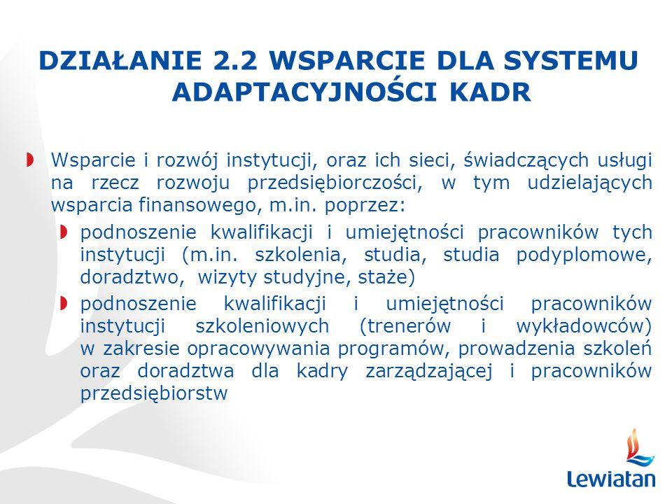 DZIAŁANIE 2.2 WSPARCIE DLA SYSTEMU ADAPTACYJNOŚCI KADR Wsparcie i rozwój instytucji, oraz ich sieci, świadczących usługi na rzecz rozwoju przedsiębiorczości, w tym udzielających wsparcia finansowego, m.in.