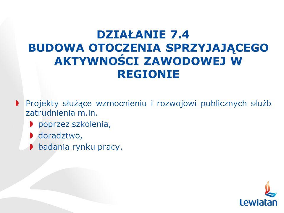 DZIAŁANIE 7.4 BUDOWA OTOCZENIA SPRZYJAJĄCEGO AKTYWNOŚCI ZAWODOWEJ W REGIONIE Projekty służące wzmocnieniu i rozwojowi publicznych służb zatrudnienia m.in.