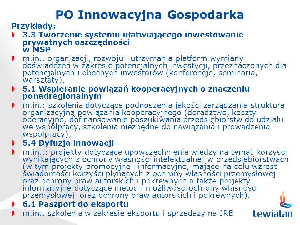 PO Innowacyjna Gospodarka Przykłady: 3.3 Tworzenie systemu ułatwiającego inwestowanie prywatnych oszczędności w MSP m.in..