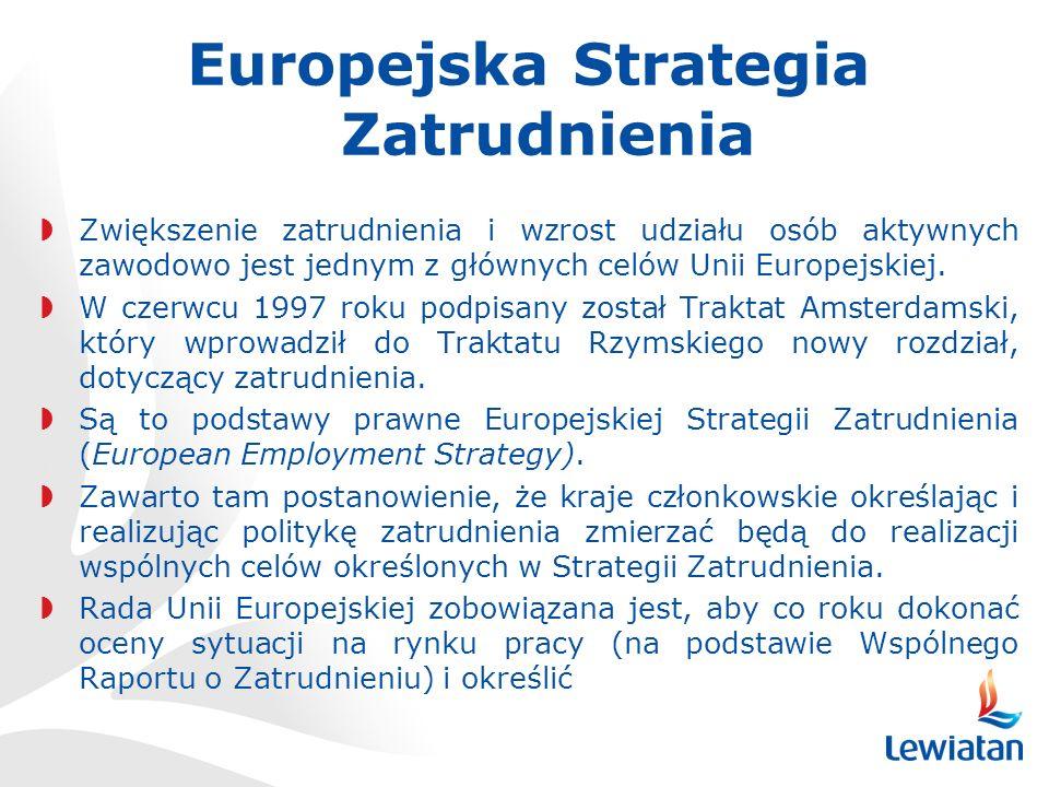 Europejska Strategia Zatrudnienia Zwiększenie zatrudnienia i wzrost udziału osób aktywnych zawodowo jest jednym z głównych celów Unii Europejskiej.