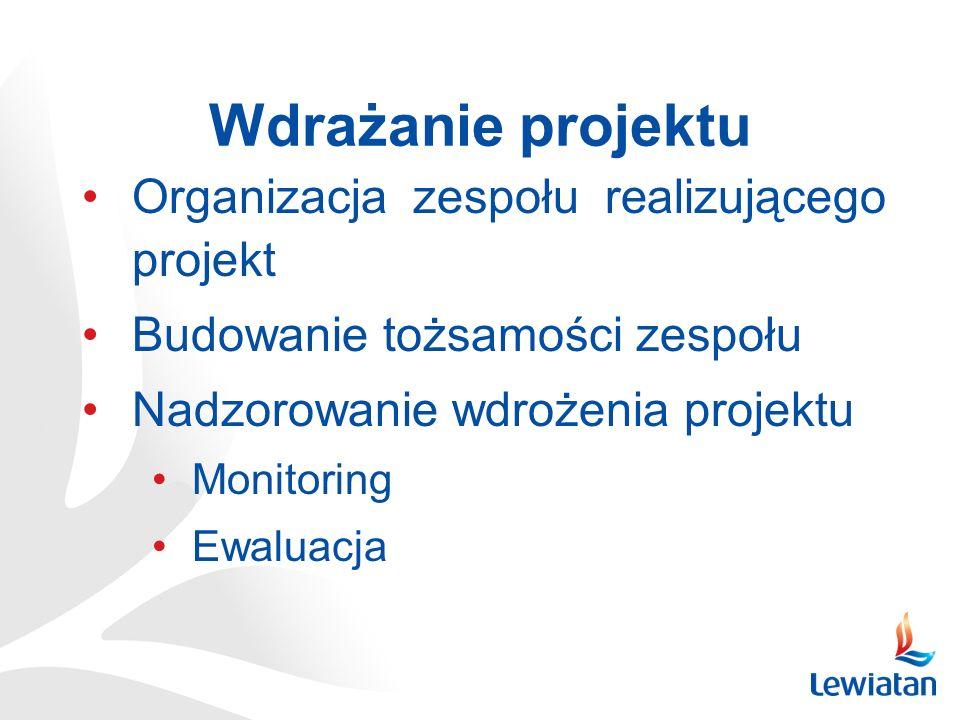 Wdrażanie projektu Organizacja zespołu realizującego projekt Budowanie tożsamości zespołu Nadzorowanie wdrożenia projektu Monitoring Ewaluacja