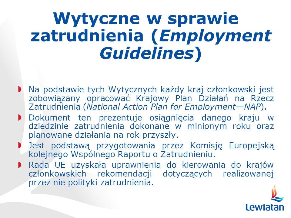 Wytyczne w sprawie zatrudnienia (Employment Guidelines) Na podstawie tych Wytycznych każdy kraj członkowski jest zobowiązany opracować Krajowy Plan Działań na Rzecz Zatrudnienia (National Action Plan for EmploymentNAP).