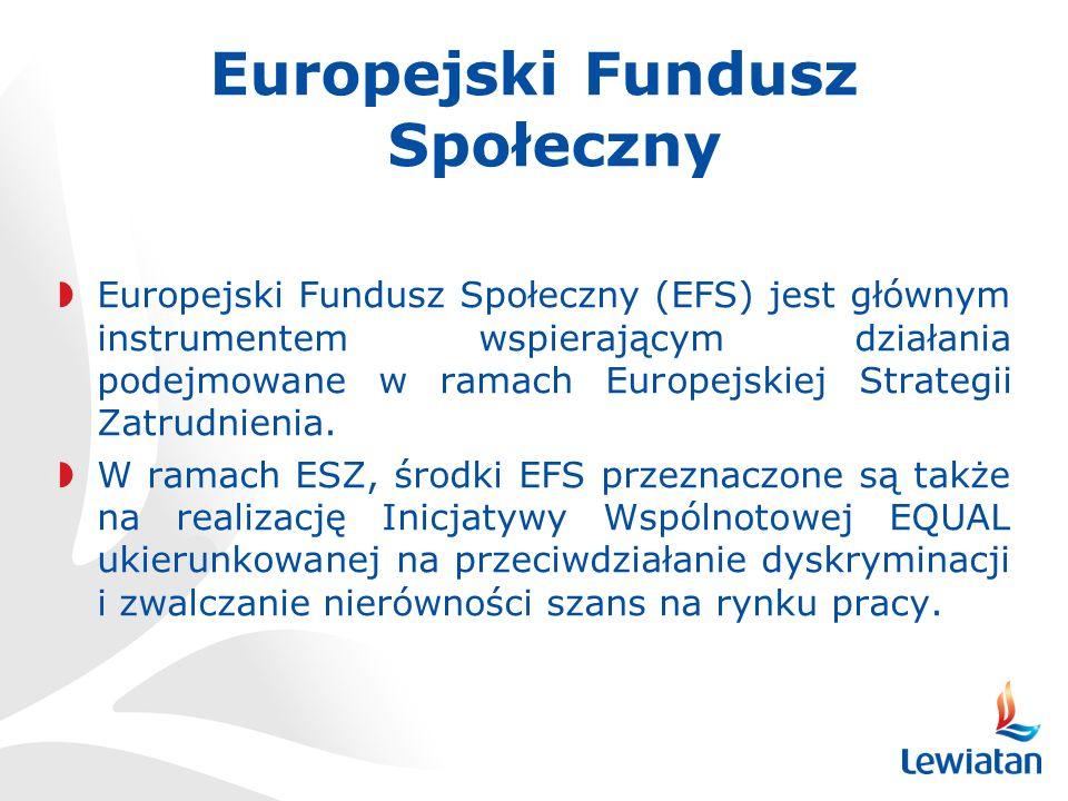 Europejski Fundusz Społeczny Europejski Fundusz Społeczny (EFS) jest głównym instrumentem wspierającym działania podejmowane w ramach Europejskiej Strategii Zatrudnienia.