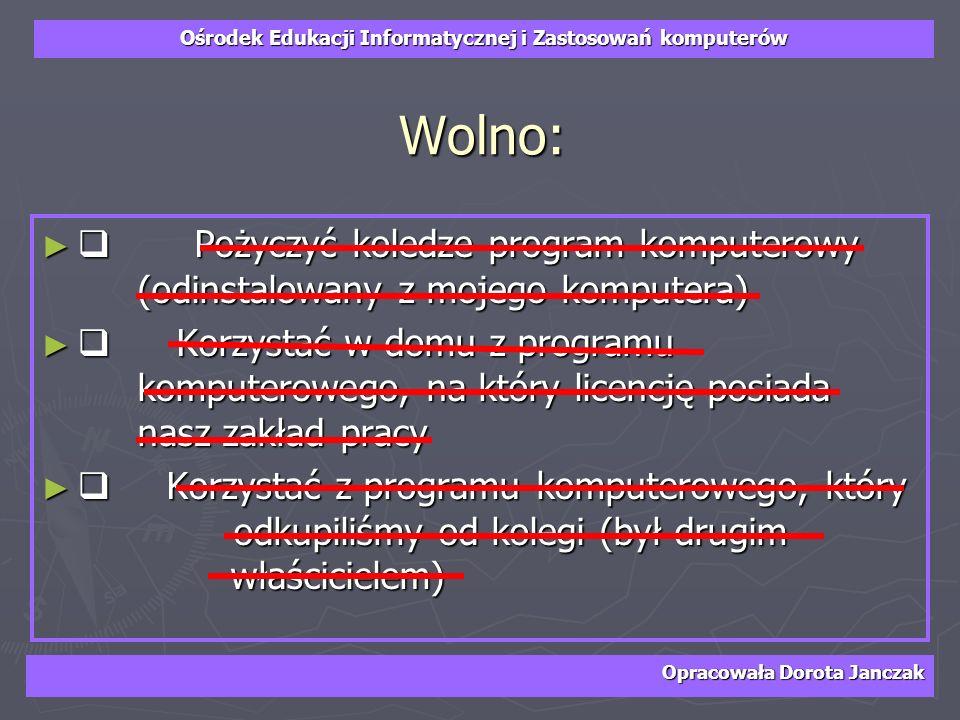 Ośrodek Edukacji Informatycznej i Zastosowań komputerów Opracowała Dorota Janczak Wolno: Pożyczyć koledze program komputerowy (odinstalowany z mojego