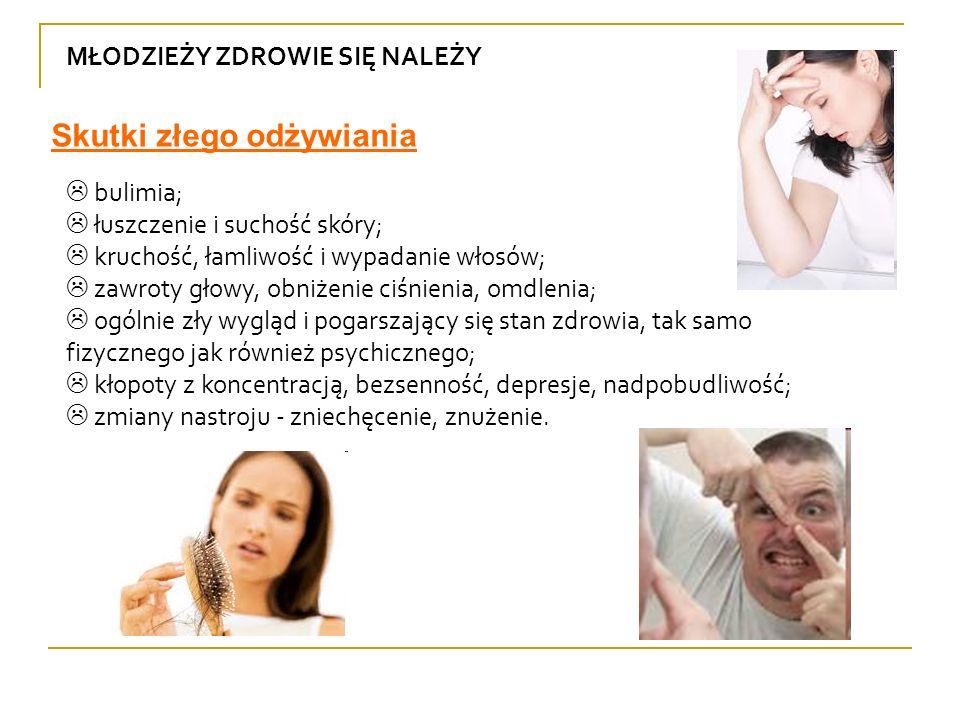MŁODZIEŻY ZDROWIE SIĘ NALEŻY bulimia; łuszczenie i suchość skóry; kruchość, łamliwość i wypadanie włosów; zawroty głowy, obniżenie ciśnienia, omdlenia
