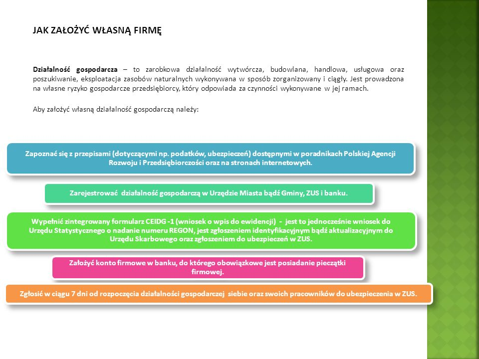 Zgłoszenie działalności gospodarczej Od 1 lipca 2011 roku dokonując wpisu do ewidencji działalności gospodarczej jednocześnie dokonuje się czynności w innych urzędach, wypełniając tzw.