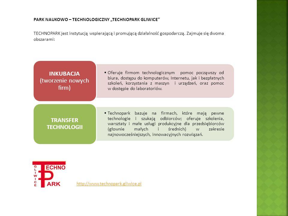 PARK NAUKOWO – TECHNOLOGICZNY TECHNOPARK GLIWICE TECHNOPARK jest instytucją wspierającą i promującą działalność gospodarczą. Zajmuje się dwoma obszara