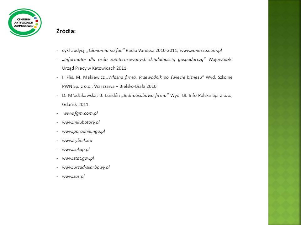Źródła: -cykl audycji Ekonomia na fali Radia Vanessa 2010-2011, www.vanessa.com.pl -Informator dla osób zainteresowanych działalnością gospodarczą Woj