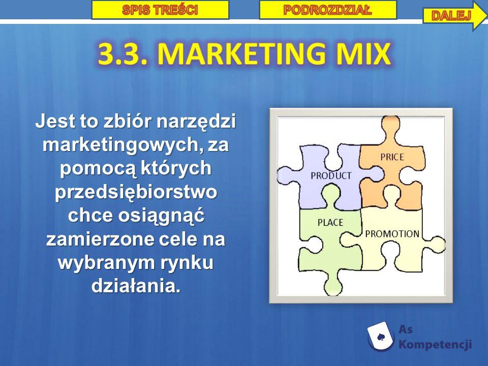 Jest to zbiór narzędzi marketingowych, za pomocą których przedsiębiorstwo chce osiągnąć zamierzone cele na wybranym rynku działania.