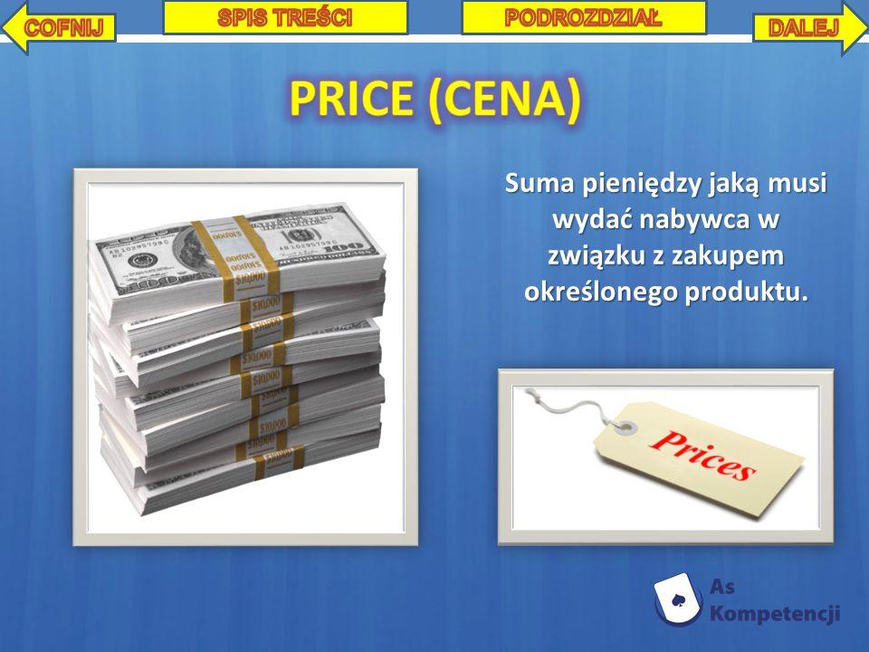 Suma pieniędzy jaką musi wydać nabywca w związku z zakupem określonego produktu.