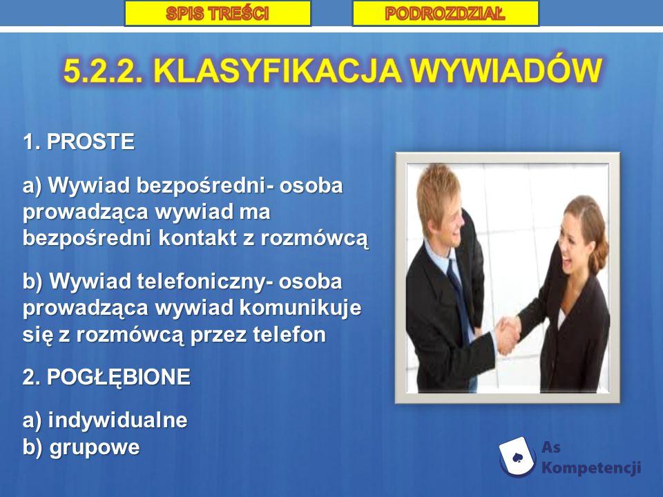 1. PROSTE a) Wywiad bezpośredni- osoba prowadząca wywiad ma bezpośredni kontakt z rozmówcą b) Wywiad telefoniczny- osoba prowadząca wywiad komunikuje