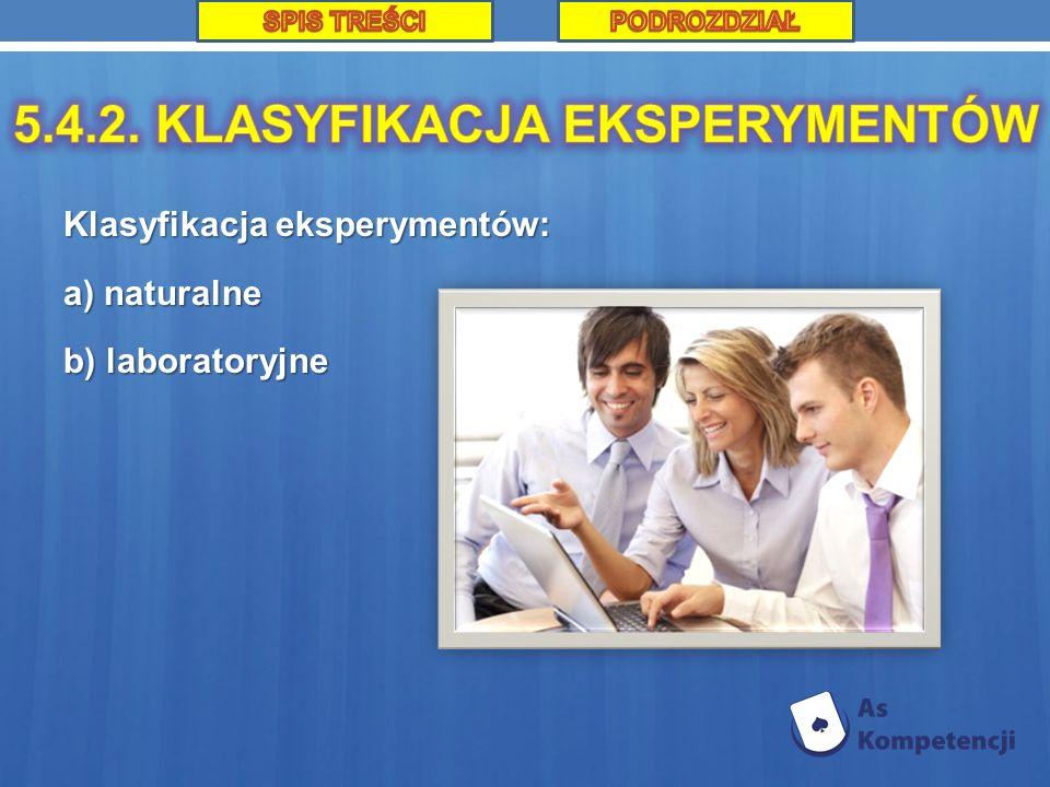 Klasyfikacja eksperymentów: a) naturalne b) laboratoryjne