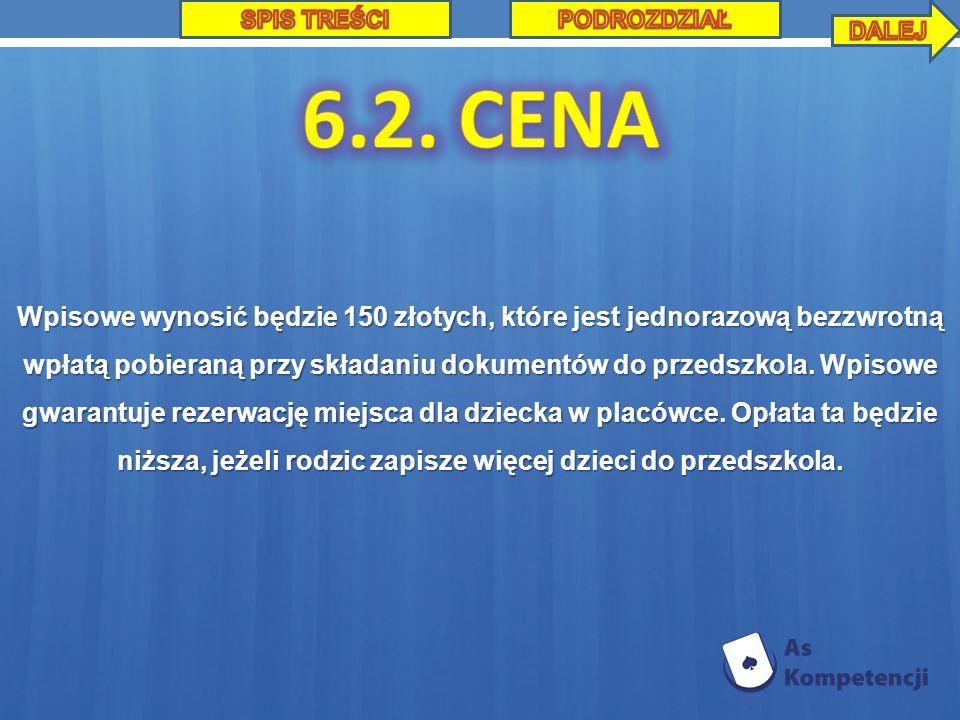 Wpisowe wynosić będzie 150 złotych, które jest jednorazową bezzwrotną wpłatą pobieraną przy składaniu dokumentów do przedszkola.
