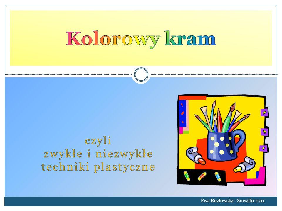 Nakrapiany tusz Ewa Kozłowska - Suwałki 2011 Z papieru wycinamy różne kształty, układamy szablony na papierze kredowym, następnie rozprowadzamy kolorowy tusz za pomocą pocierania o grzebień zamoczonej w tuszu szczoteczki do zębów.