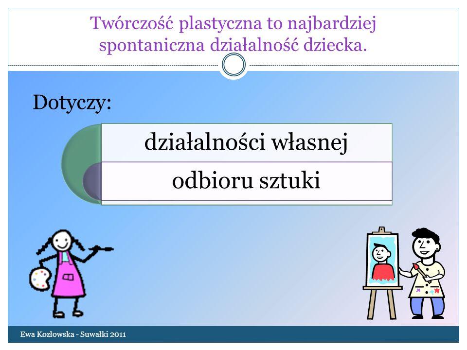 Twórczość plastyczna to najbardziej spontaniczna działalność dziecka. Ewa Kozłowska - Suwałki 2011 działalności własnej odbioru sztuki Dotyczy: