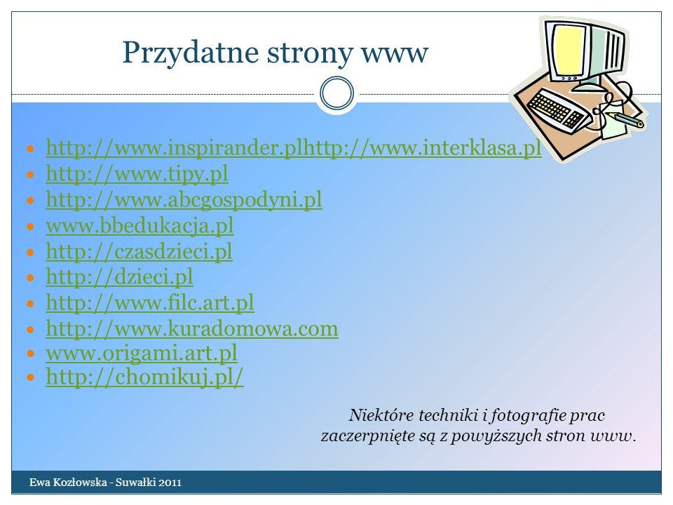 Przydatne strony www Ewa Kozłowska - Suwałki 2011 http://www.inspirander.plhttp://www.interklasa.pl http://www.tipy.pl http://www.abcgospodyni.pl www.