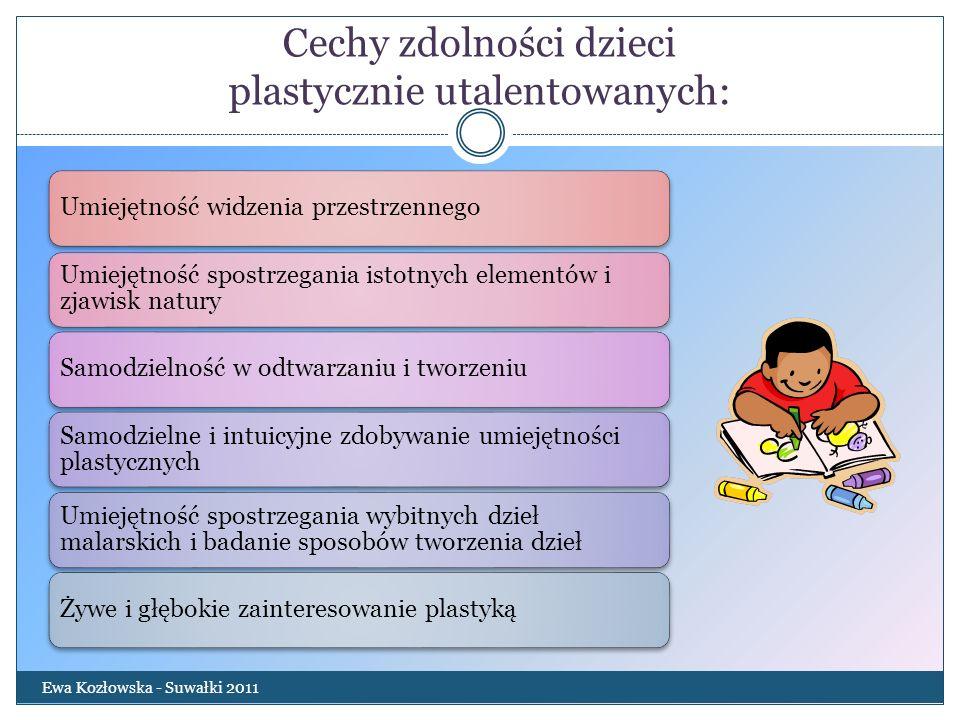 Cechy zdolności dzieci plastycznie utalentowanych: Ewa Kozłowska - Suwałki 2011 Umiejętność widzenia przestrzennego Umiejętność spostrzegania istotnyc