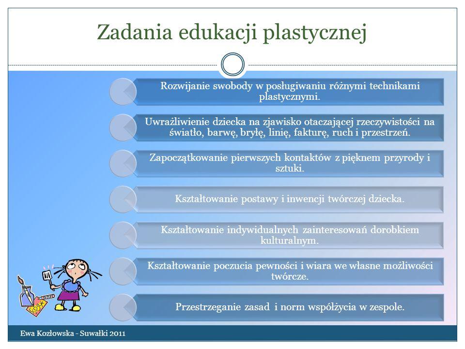 Zadania edukacji plastycznej Ewa Kozłowska - Suwałki 2011 Rozwijanie swobody w posługiwaniu różnymi technikami plastycznymi. Uwrażliwienie dziecka na