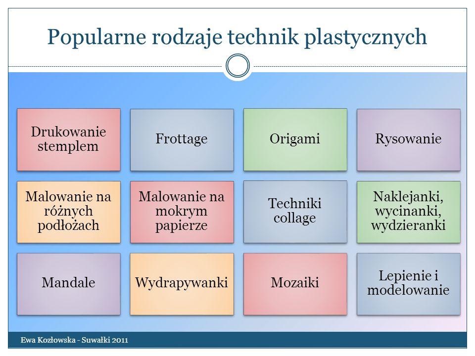 Stemple z plasteliny Ewa Kozłowska - Suwałki 2011 W pokrywce na słoik wykonuje się z plasteliny wzorki, następnie maluje je farbą plakatową lub tuszem i odbija na kartkę.