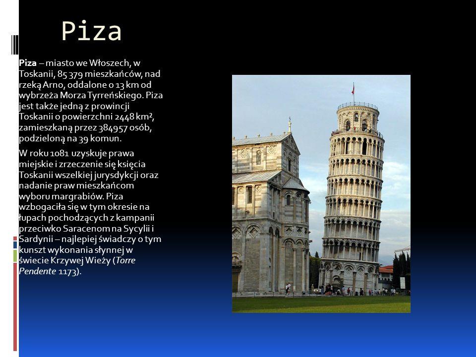 Piza Piza – miasto we Włoszech, w Toskanii, 85 379 mieszkańców, nad rzeką Arno, oddalone o 13 km od wybrzeża Morza Tyrreńskiego. Piza jest także jedną