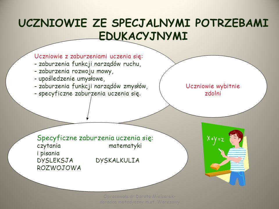UCZNIOWIE ZE SPECJALNYMI POTRZEBAMI EDUKACYJNYMI Uczniowie ze specjalnymi potrzebami edukacyjnymi to uczniowie, którzy do osiągnięcia sukcesu potrzebu