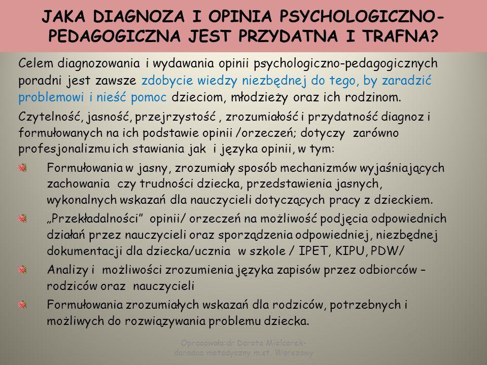 CZĘŚĆ DIAGNOSTYCZNA SCHEMAT ZAWARTOŚCI DOTYCHCZASOWE POSTĘPOWANIE DIAGNOSTYCZNE diagnoza psychologiczna i co z niej wynika diagnoza pedagogiczna i co z niej wynika diagnoza logopedyczna i co z niej wynika inne diagnozy specjalistyczne: badanie słuchu i wzroku, SI, medyczne, inne Opracowała:dr Dorota Mielcarek- doradca metodyczny m.st.
