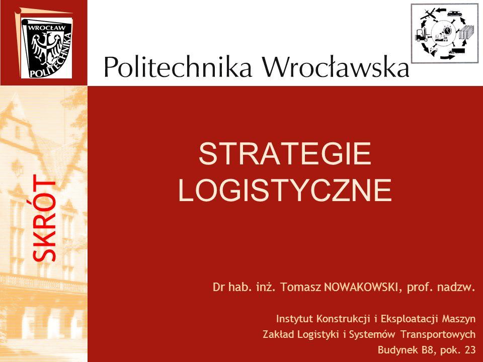 STRATEGIE LOGISTYCZNE Dr hab. inż. Tomasz NOWAKOWSKI, prof. nadzw. Instytut Konstrukcji i Eksploatacji Maszyn Zakład Logistyki i Systemów Transportowy