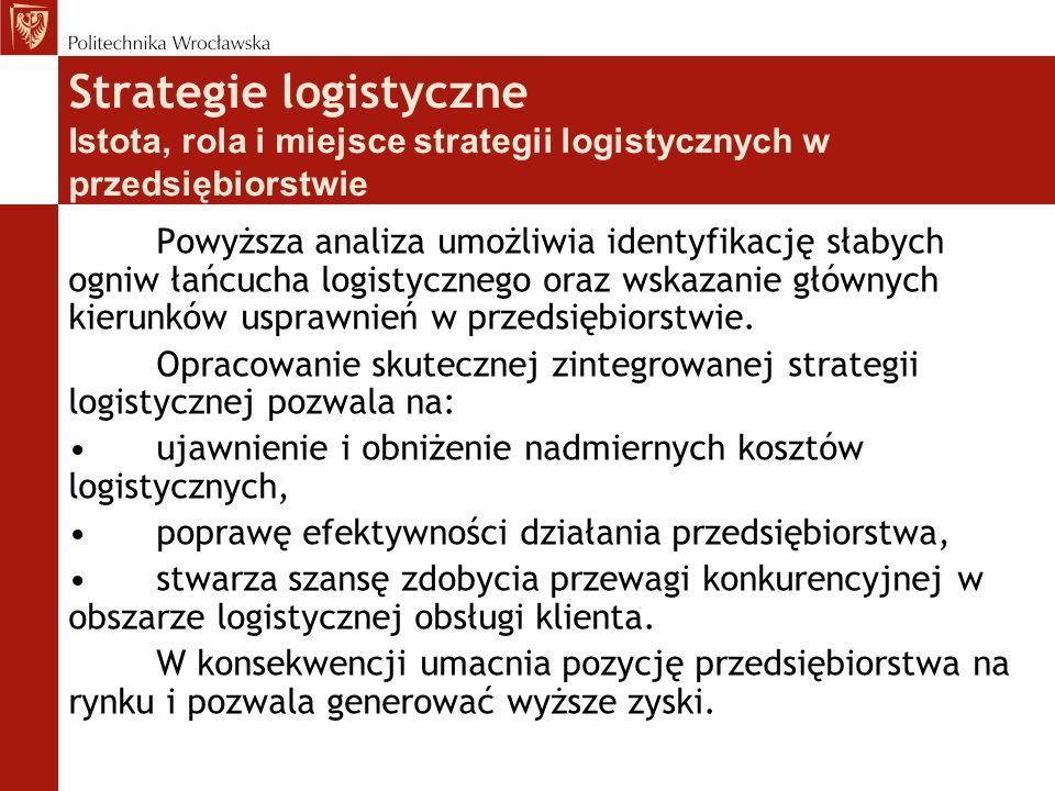 Strategie logistyczne Istota, rola i miejsce strategii logistycznych w przedsiębiorstwie Powyższa analiza umożliwia identyfikację słabych ogniw łańcuc