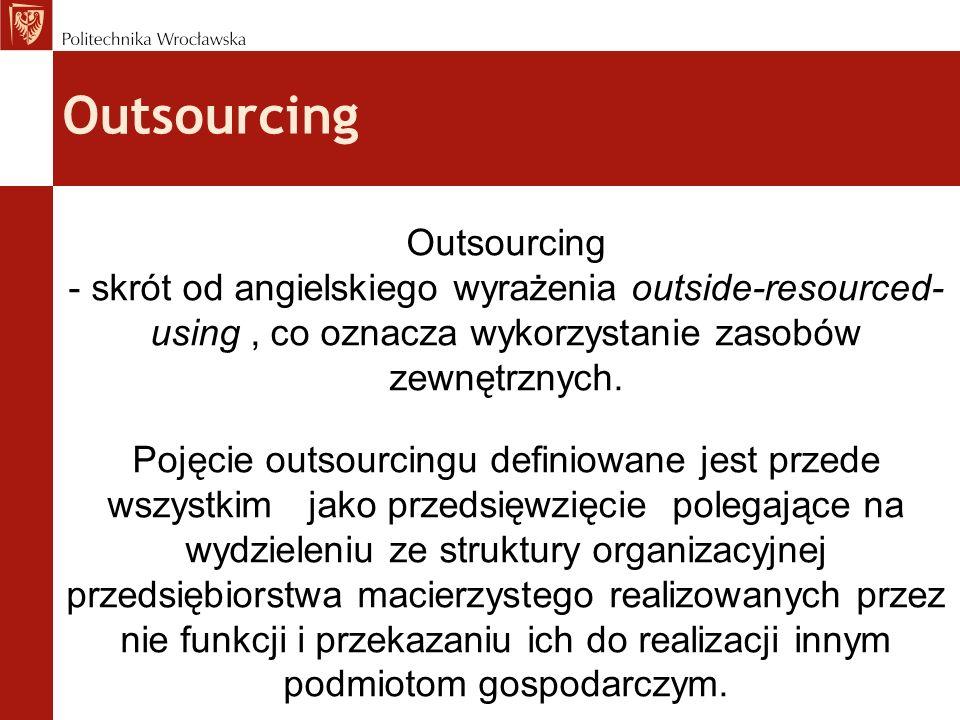 Outsourcing - skrót od angielskiego wyrażenia outside-resourced- using, co oznacza wykorzystanie zasobów zewnętrznych. Pojęcie outsourcingu definiowan