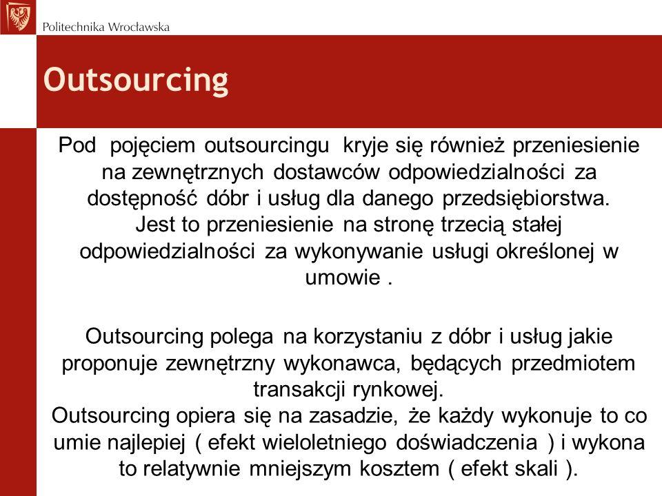Outsourcing Pod pojęciem outsourcingu kryje się również przeniesienie na zewnętrznych dostawców odpowiedzialności za dostępność dóbr i usług dla daneg
