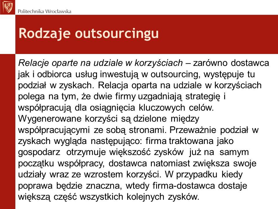 Rodzaje outsourcingu Relacje oparte na udziale w korzyściach – zarówno dostawca jak i odbiorca usług inwestują w outsourcing, występuje tu podział w z