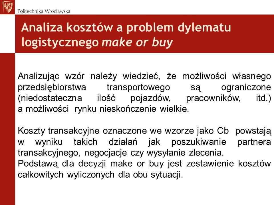 Analiza kosztów a problem dylematu logistycznego make or buy Analizując wzór należy wiedzieć, że możliwości własnego przedsiębiorstwa transportowego s